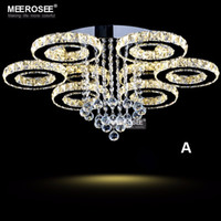 Wholesale Cristal Ceiling - Modern LED Crystal Chandelier Ring Circle Lustre Ceiling Light Lighting Crystal Light Fixture Cristal Lustre Flush Mounted Lamp Home Bedroom