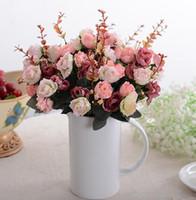 Wholesale Floor Painting Designs - Wholesale- 21 heads bouquet Vintage Style silk rose flower bouquet design oil painting artificial decorative rose for home wedding party