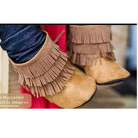 Wholesale Brown Suede Fringe Boots - Brand New Baby Girls Boots Solid Suede Fringe Newborn Shoes Hook Loop Babies Boot Anti-Slip Soft Infant First Walkers Babywear