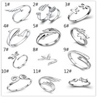 Wholesale Mixed Silver Jewerly - 925 Sterling Silver Jewerly Rings Dolphins Dragonfly Wings Of The Angel Love Fox Butterfly Opening Adjustable Ring For Women