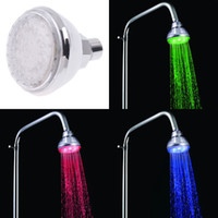 Wholesale Color Lighted Shower Heads - Fantastic Temperature Sensor LED Lights Shower Head Showerhead Bathroom 3 Color connector including ABS electrochromism Shower heads