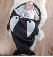 Wholesale Baby Sleeping Bag Pattern - Shark Sleeping Bag Baby Newborns Sleeping Bag Winter Strollers Bed Swaddle Blanket Wrap Cute Bedding Baby Sleeping Bag for Xmas Gift Sale