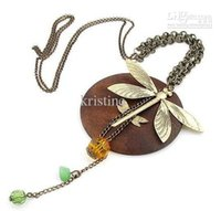 Wholesale Necklace Dragonfly Wood - Free shipping 10pcs lot fashion jewelry for women Europe and America trendy dragonfly necklace hot selling design whosaler price