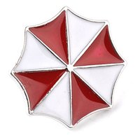 Wholesale Resident Evil Umbrella Corporation - Resident Evil Umbrella Corporation Embroidered Logo Metal Badge Brooch Pin Red And White Enamel Umbrella Brooch zj-0903837-6