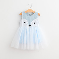 Wholesale Fox Dresses - 2T-7T Girls' Cotton fox lace dress One Piece Sleeveless Girls dresses Pink Blue 2 colors 5sizes Spring Summer