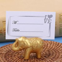 Wholesale Elephant Wedding Party Favors - Lucky Gold Elephant Place Card Holders Table Name Holder Wedding Centerpiece Favors Gift Party Decoration ZA4312