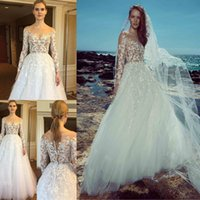 Wholesale zuhair murad sheer lace dresses resale online - 2019 Zuhair Murad Beach Wedding Dresses Long Sleeves Sheer Neck Lace Applique Bridal Gowns Sexy Illusion Bodice Tulle Wedding Dress