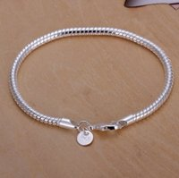 Wholesale Thick Silver Bracelets For Men - Simple European hot 925 silver bracelet jadoku chain 3mm fashion for men to wear thick lady