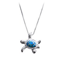 Wholesale Opal Turtle - Blue Opal Turtles Necklace New Fashion Animal Wedding Jewelry 925 Sterling Silver Filled Necklaces Pendants Gift