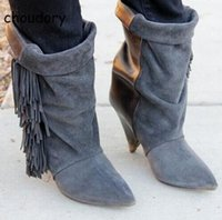 Hot Sale Fringed Gray Black Suede Spike Heels Moda Senhora Botas Pointed Toe Saltos altos Sexy Winter Autumn Woman Boots Shoes