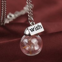 Wholesale Natural Seeds Jewelry - Glass bottle necklace Natural dandelion seed in glass long necklace jewelry Make A Wish Glass Bead Orb silver plated Necklace