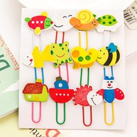Wholesale Wooden Clip Draw - Cartoon Animal Paper Clips Wooden Colour Drawing Paper Clips Bookmarks Binder Stapler Paperclip School Supply 12pcs Set E701L