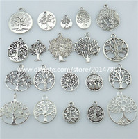 Wholesale Dangle Charm Mix - 13677 1set=20pcs Mix Vintage Silver Tone Tree Plant Tree of Life Pendant Dangle Charm Jewelry Wholesale