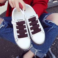 Wholesale Velcro Hook Loop Strap - Ladies Women Girl Students Velcro Hook & Loop Casual Sport Shoes Wipe Color White Black Size 35-40 Do The Old PU Leather Rubber Base