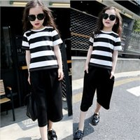 Wholesale Mother Clothes - Children Autumn Stripe Short Sleeves T-shirt and Wide Leg Seven-length Pants Clothing Sets For Girls and Mother
