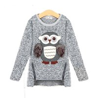 Wholesale Owl Sweater Girls - 2017 autumn new fashion girls sweaters kids fleece lined zipper sweaters cartoon cute owl casual cotton girls sweater