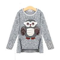 velo da coruja venda por atacado-2017 outono nova moda meninas blusas crianças fleece forrado com zíper blusas bonito dos desenhos animados coruja casual algodão camisola meninas