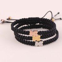 Wholesale 18k Gold Cord - New Pulsera Women Stainless Silver Gold panda Charms gift bracelet Jewelry Handmade Black cords Macrame braiding Brazalete mujer oso