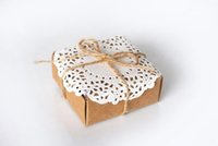 Wholesale Eco Friendly Paper Packaging - 10pcs lot Lace Paper Carboard kraft Jewelry Gift Box Linen String Wedding Party Favor Box Eco Friendly Natural DIY Packaging