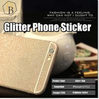 iphone için bling sticker cilt toptan satış-Iphone 7 için artı Glitter Cilt Sticker Bling shinning Koruyucu I7 Samsung Galaxy s7 kenar için NOT 7 tam vücut filmi Renkli vaka