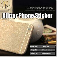 pegatina bling de piel para iphone al por mayor-Para Iphone 7 plus Glitter Skin Sticker Bling protector de brillo para I7 Samsung Galaxy s7 edge NOTE 7 película de cuerpo completo Colorido estuche