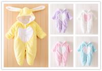 Wholesale Cute Hoodies Animal Ears - Newborn Baby Winter cute Rabbit Ears Hooded Romper Infants coral fleece cartoon Rabbit cosplay soft hoodie rompers outfits 5colors 6-24M EMS