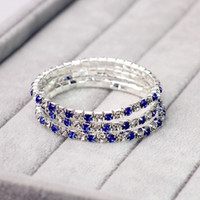 Wholesale Bracelet Single Row Crystals - 3Pcs Single Rows Crystal Bridal Wedding Bracelet 925 Stering Silver Jet Blue And White Bracelet Crystal Rhinestone Bracelet