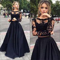 ingrosso due pezzi abiti per la vendita-Vendita calda nero economici due pezzi Prom Dresses lungo con maniche Una linea Sexy abiti da sera in pizzo crew