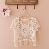 Wholesale Ladies Rhinestone Vest - Summer Small Cape Sun Protection Shawl Transparent Shawl Hollow Out Short Sleeved Small Vest Lace Cardigan Ladies Thin Coat JR013
