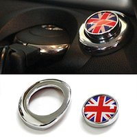 Wholesale Union Jack Blue - 1pcs Classic Red Blue UK Union Jack Design Engine Start Push Start Cap Cover For 2nd Gen MINI Cooper Free shipping yy269