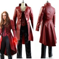 Wholesale Halloween Costumes Leather Suit - Captain America 3 Civil War Cosplay Costumes Wanda Maximoff Scarlet Witch cosplay costume Fancy Leather suit costume