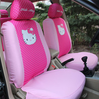 Wholesale Kitty Car Seat Covers - Free Shipping 1set 10pcs Cute Cartoon Hello Kitty Head Bow Comfortable Rose Car Seat Covers Car Accessories