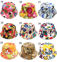 Wholesale Wholesale Toddler Sunhats - Fashion bucket hats for kids floral strawberry Cherry apple animal printed baby girls boys sunhats infant child toddler caps 30styles H-1