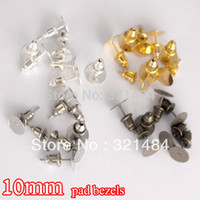 Wholesale Rose Cabochon Mix - wholesale 1000set lot mixed 10mm pad bezels resin rose flower cabochon setting cameo base earring post with stoppers