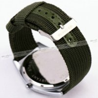 Wholesale Quartz Fluorescence - 2016 Fashion Military sport Casual Unisex Quartz Wrist Watch Dark-Green Canvas Bank Matting Round Dial Fluorescence + GIFT BOX