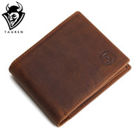 Wholesale First Coins - Wholesale- TAUREN First Layer Cow Genuine Leather Wallet With Coin Pocket Men Bifold Zipper Crazy Horse Leather Clutches Retro Coin Purse