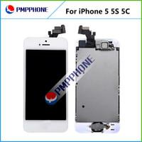 iphone 5s ekran ön kamera toptan satış-Ev düğmesi + ön kamera ile LCD Ekran dokunmatik ekran digitizer tam meclisi değiştirmeleri iphone 5 / 5c / 5 s ücretsiz kargo