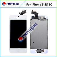 Wholesale Iphone Screen Replacement Home Button - LCD Display with home button + front camera touch screen digitizer full complete assembly replacements for iphone 5 5c 5s free shipping