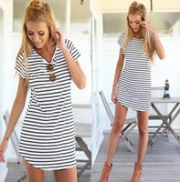 Wholesale Maxi Skirt Stripes - In Summer 2016 The Latest Fashion Ladies Beach Sexy Stripe T-shirt Skirt Haihun Movement