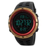 Wholesale Digital Display Clock Countdown - Luxury watch digital display sports men's watch resin band double time zone night light waterproof calendar countdown clock