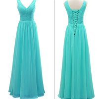 Wholesale Turquoise Chiffon Color - 2017 Turquoise Bridesmaid Dresses Chiffon V-neck A-line Maid Of Honor Gowns Long Floor Length Real Photo Cheap Simple Wedding Guest Dress