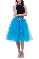 Wholesale Turquoise Purple Tutu - Knee Length Tulle Tutu 7 Layerd Rainbow TuTu Petticoats Dust pink turquoise Evening Party Gown Prom Formal Skirts With Bowknot 21 colors