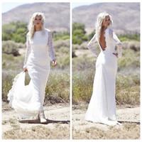 Wholesale Slim Wedding Dress Full Sleeve - Backless Lace Long Sleeves Mermaid Wedding Dresses 2016 Custom Formal Full Lace Bridal Gowns Slim Bohemian Wedding Gowns Cheap