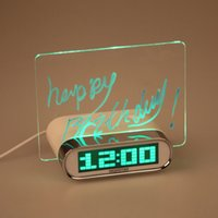 Wholesale Desk Writing Board - New arrival alarm clock with writing memo notice interactive message board Led gift desk table Date Time Temperture