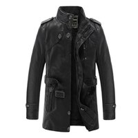 Wholesale Coat Buttons Sewing - Leather Jacket Men Brand Motorcycle Artificial Jaqueta de Couro Masculina Faux Fur Liner Mens Leather Jackets and Coats 3XL