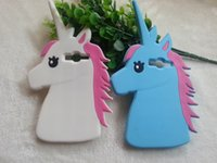 Wholesale Galaxy Grand Duos 3d Cases - Fashion Cute 3D Cartoon Unicorn Soft Silicone Rubber Case For Samsung GALAXY Grand DUOS I9082 i9060 i9080 Back Cover White Horse Phone Cases