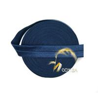 "Wholesale Headband Navy - Wholesale- GOYIBA 5 Yard 5 8"" 1.5cm Navy Color FOE Foldover Elastics Spandex Satin Baby Hairband Headband Lace Trims DIY Sewing Notions"