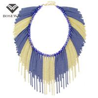 Wholesale Tassel Bib Collar - Handmade Multicolor Chain Tassel Crystal Beaded Necklace Choker Statement Jewelry Women Accessories Bib Collar Maxi Necklaces