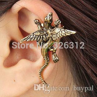 Wholesale Antique Cluster Earrings - Wholesale New Fashion women men accessories Jewelry Punk style Antique silver Monster Ear Hook Ear Cuff Clip Earrings RJ3078 0416dd