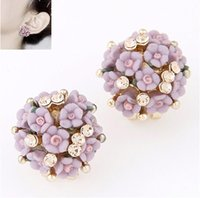 Sweet Girl Flower Spring Buckle Back Stud 10PRS Boutique Lady Diamond Brincos Purple / Pink / Beige / Colors / Blue Women Brincos de cerâmica flor